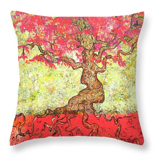 Tree Throw Pillow featuring the painting Lady In Red by Stefan Duncan