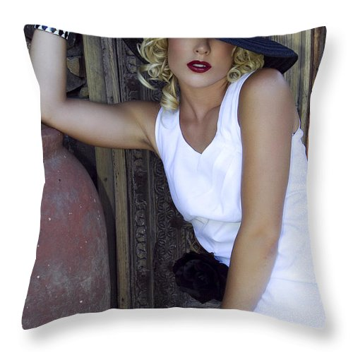 Female Throw Pillow featuring the photograph Lady In White Palm Springs by William Dey
