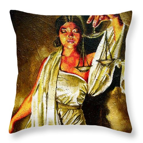 Law Art Throw Pillow featuring the painting Lady Justice Sepia by Laura Pierre-Louis