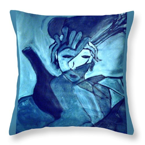 Blue Throw Pillow featuring the painting Lady Madonna by Shea Holliman