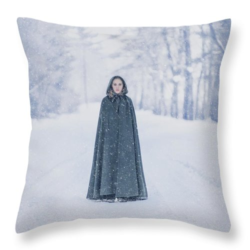 Kremsdorf Throw Pillow featuring the photograph Lady Of The Winter Forest by Evelina Kremsdorf