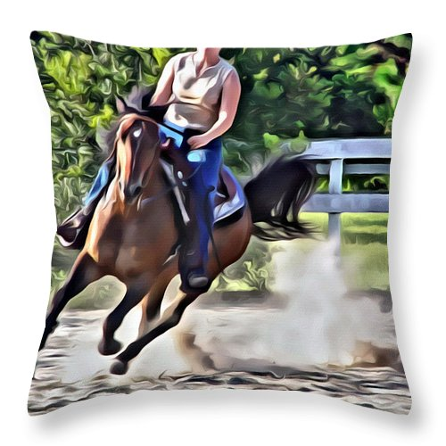 Horse Lady Cantering Running Galloping Arena Throw Pillow featuring the photograph Lady Riding by Alice Gipson