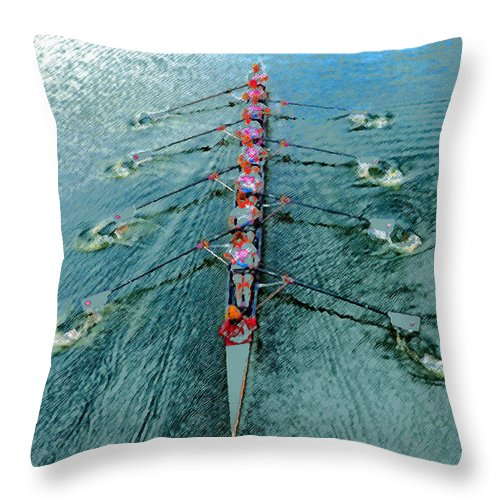 Art Throw Pillow featuring the painting Lady Scullers by David Lee Thompson