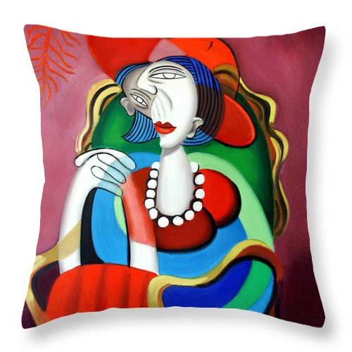 Lady With A Red Hat Throw Pillow featuring the painting Lady With A Red Hat by Anthony Falbo