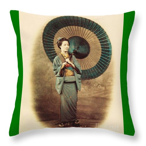 U.s.pd Throw Pillow featuring the photograph Lady With Umbrella by Reproduction