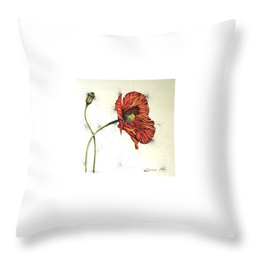 Poppies Throw Pillow featuring the drawing Lady Yee by Katharina Filus