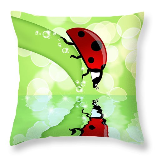 Ladybug Throw Pillow featuring the photograph Ladybug On Leaf Looking At Water Reflection by David Gn