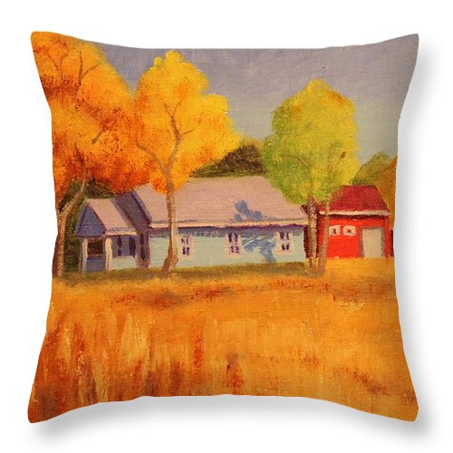Ruth Soller Throw Pillow featuring the painting Lafayette Farm by Ruth Soller