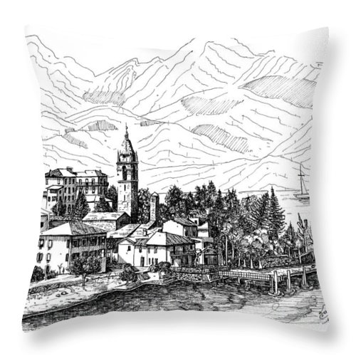 Throw Pillow featuring the drawing Lago Di Como- San Siro -rezzonico by Franko Brkac
