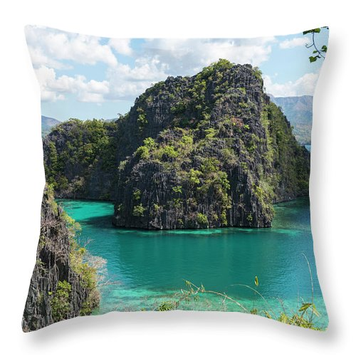 Scenics Throw Pillow featuring the photograph Lagoon In Coron, Palawan, Phillippines by John Harper