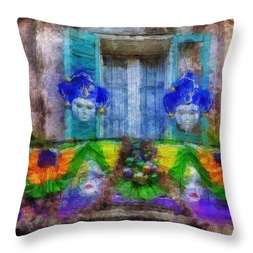New Orleans Throw Pillow featuring the painting Laissez Le Bon Temps Rouler by Sandy MacGowan