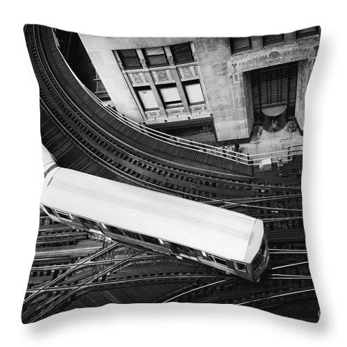 Chicago; Illinois; United States; America; United States Of America; Usa; Us; Lake Michigan; Lake Street; Wells Street; Windy City; City; Building; Architecture; View; El; Train; Subway; Train Tracks; Tracks; Turn; Bend; Top; Commute; Elevated; Loop Throw Pillow featuring the photograph Lake And Wells by Margie Hurwich