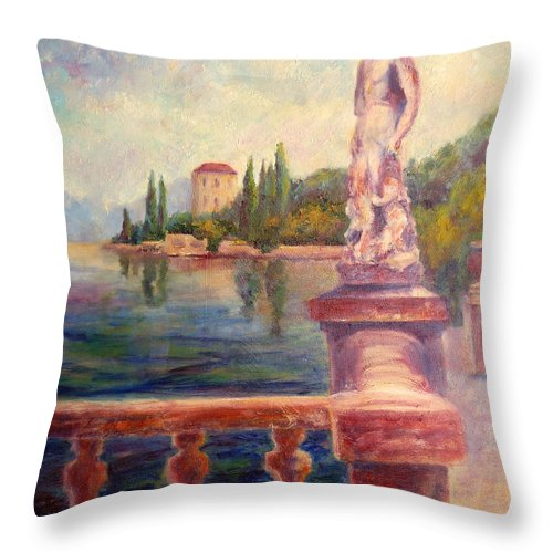 Varenna Throw Pillow featuring the painting Lake Como View by Carolyn Jarvis