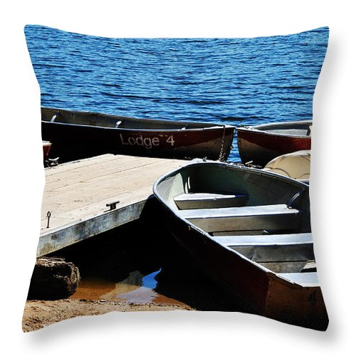 Landscape Throw Pillow featuring the photograph Lake Dock by Pam Romjue