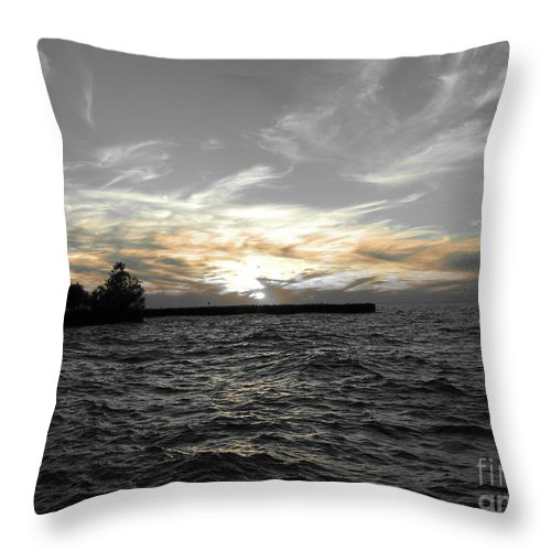 Lake Erie Throw Pillow featuring the photograph Lake Erie Lights by Michael Krek