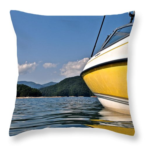 South Throw Pillow featuring the photograph Lake Jocassee by Frozen in Time Fine Art Photography