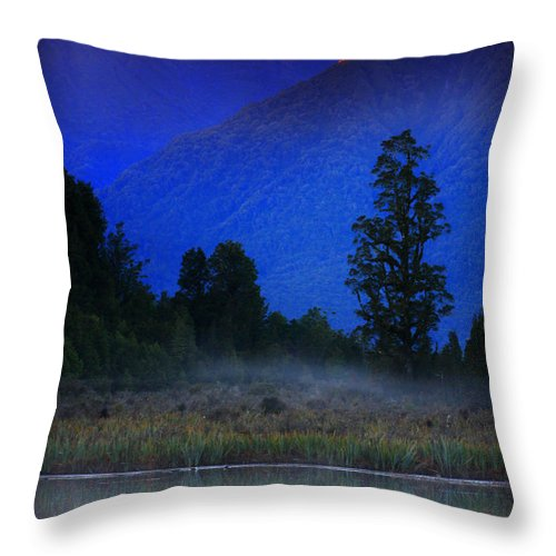 Mountains Throw Pillow featuring the photograph Lake Matheson New Zealand by Amanda Stadther