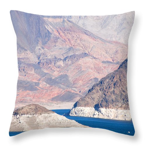 Landscapes Throw Pillow featuring the photograph Lake Mead National Recreation Area by John Schneider