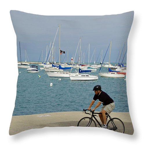 Lake Michigan Throw Pillow featuring the photograph Lake Michigan - Downtown Chicago by Suzanne Gaff