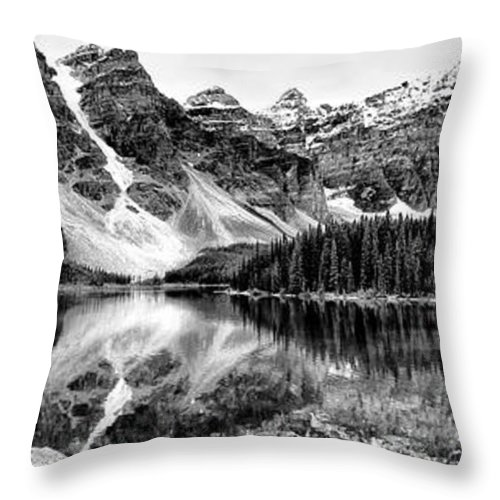 Lake Moraine Photograph Throw Pillow featuring the photograph Lake Moraine Reflection by Lucy VanSwearingen