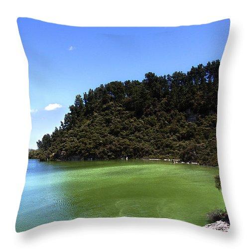 New Zealand Throw Pillow featuring the photograph Lake Ngakoro Rotorua New Zealand by Peter Lloyd