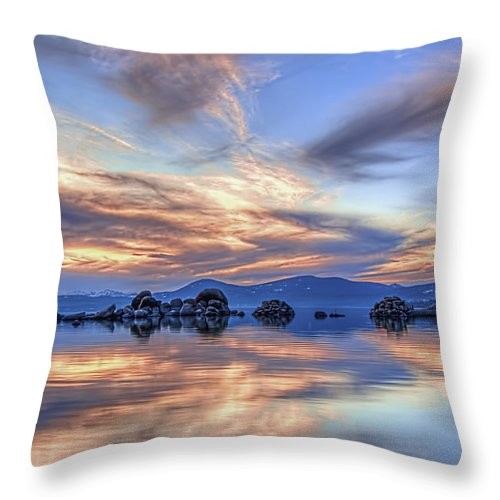 Landscape Throw Pillow featuring the photograph Lake Reflections by Maria Coulson