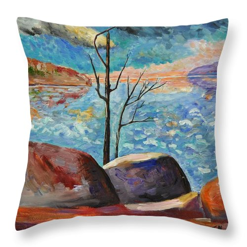 Lake Throw Pillow featuring the painting Lake Simcoe Peace by Heather Kertzer