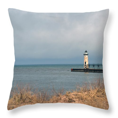 Manistee Throw Pillow featuring the photograph Lake Storm by Linda Kerkau