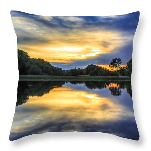 Landscape Throw Pillow featuring the photograph Lake Sunset by Gregory Dean