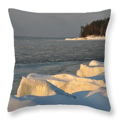 Lake Superior Throw Pillow featuring the photograph Lake Superior Winter Sunset by Kathryn Lund Johnson