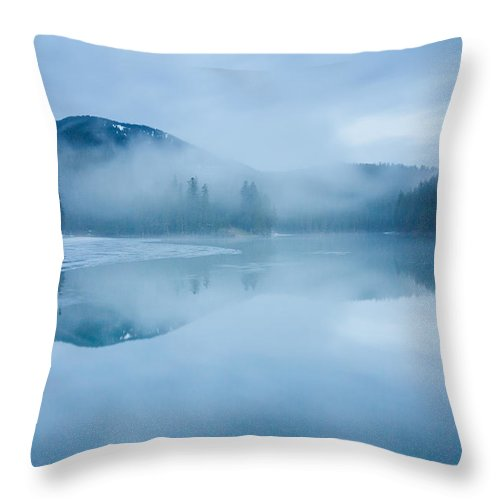 Scenics Throw Pillow featuring the photograph Lake Surrounded By Mountains And Forest by Verybigalex