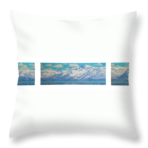 Lake Tahoe Throw Pillow featuring the painting Lake Tahoe After The Storm Triptych by Frank Wilson