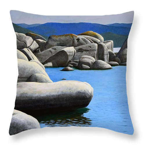 Lake Tahoe Rocky Cove Throw Pillow featuring the painting Lake Tahoe Rocky Cove by Frank Wilson