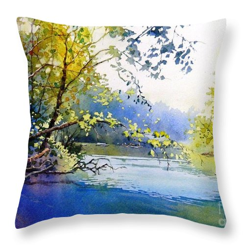 Landscape Throw Pillow featuring the painting Lake View 2 by Celine K Yong