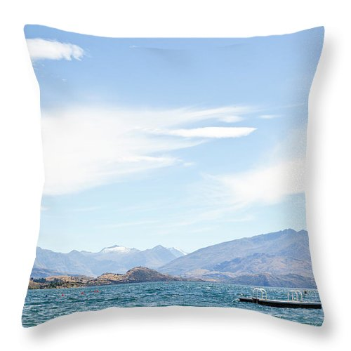 Scenics Throw Pillow featuring the photograph Lake Wanaka Diving Platform by Phillip Suddick