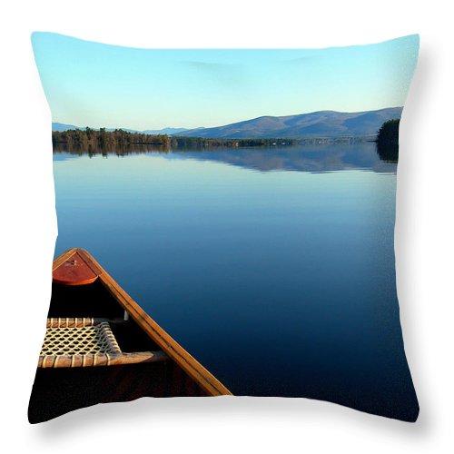 Canoe Throw Pillow featuring the photograph Lake Winnepasaukee Canoe by Skip Willits