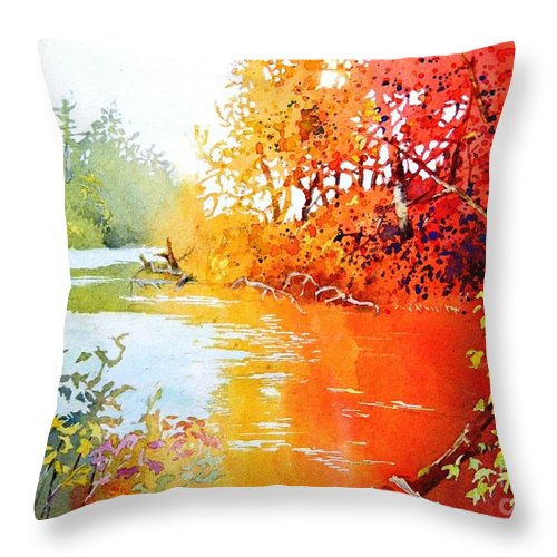 Landscape Throw Pillow featuring the painting Lakescene 1 by Celine K Yong