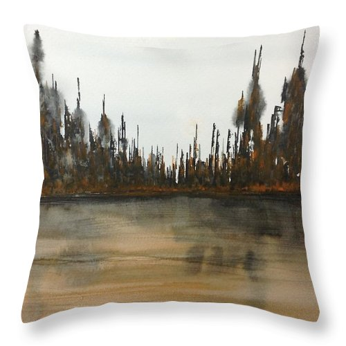 Autumn Landscape Watercolour Throw Pillow featuring the painting Lakeside - Autumn Orange Hue by Desmond Raymond