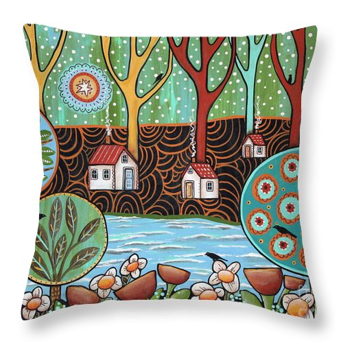 Seascape Throw Pillow featuring the painting Lakeside1 by Karla Gerard