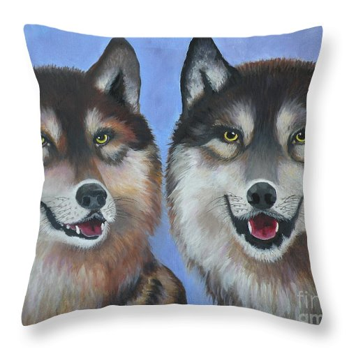 Wolves Throw Pillow featuring the painting Lakota And Arapaho by Lora Duguay