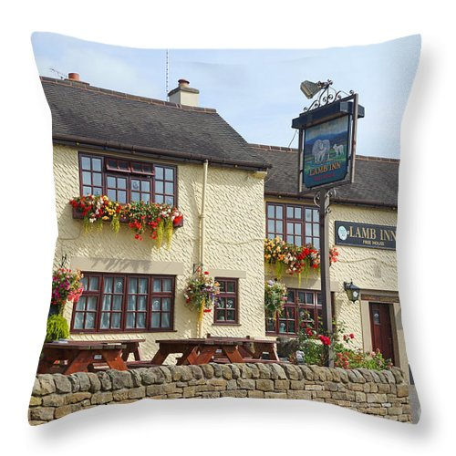 Pub Throw Pillow featuring the photograph Lamb Inn by David Birchall