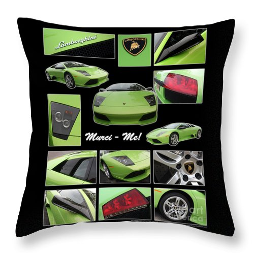 Lamborghini Throw Pillow featuring the photograph Lambo - Murci-me - Poster by Gary Gingrich Galleries