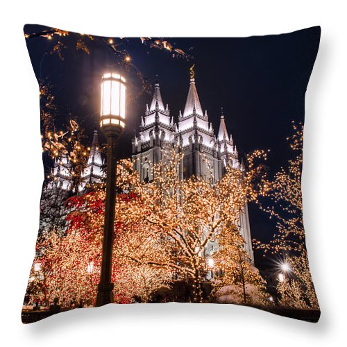 Christmas Throw Pillow featuring the photograph Lamp Post Slc Temple by La Rae Roberts