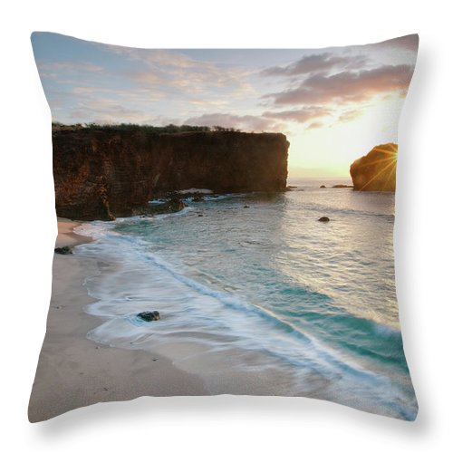 Scenics Throw Pillow featuring the photograph Lanai Sunset Resort Beach by M Swiet Productions