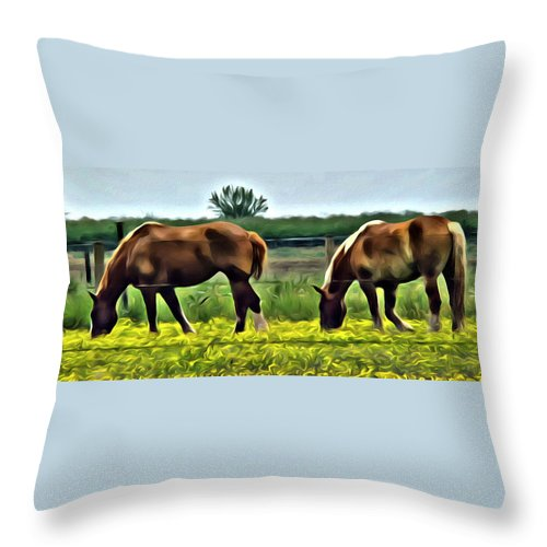 Horses Draft Meadow Yellow Flowers Throw Pillow featuring the photograph Lancaster Drafts by Alice Gipson
