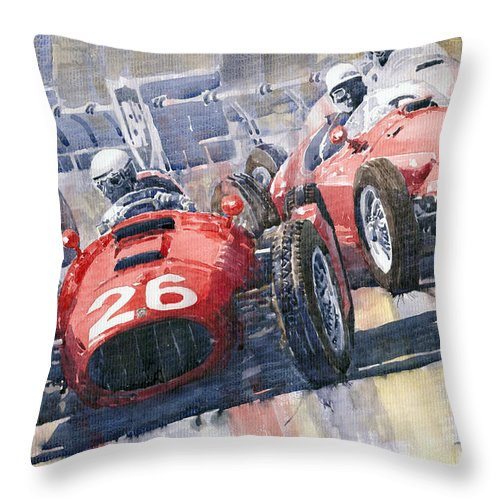 Watercolour Throw Pillow featuring the painting Lancia D50 Alberto Ascari Monaco 1955 by Yuriy Shevchuk
