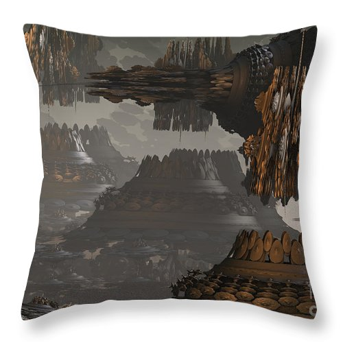 Fractal Throw Pillow featuring the digital art Land Before Time by Melissa Messick