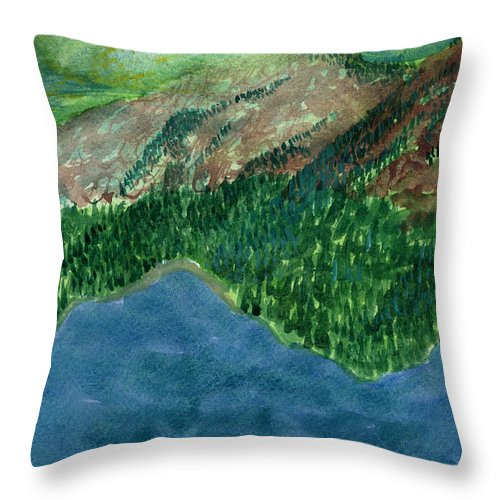Watercolor Throw Pillow featuring the painting Land Of Time by Victor Vosen