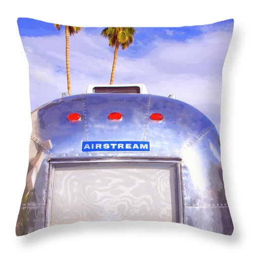 Airstream Throw Pillow featuring the photograph Land Yacht Palm Springs by William Dey