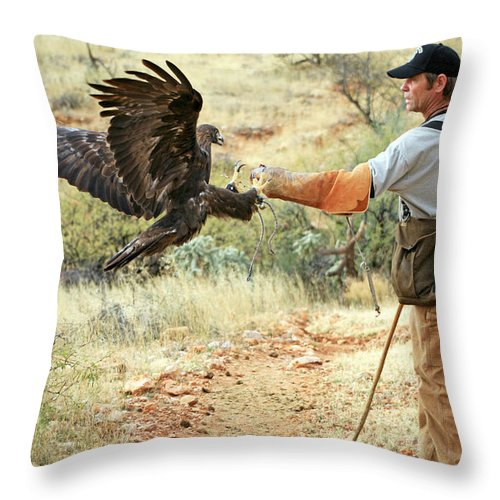 Golden Eagle Throw Pillow featuring the photograph Landing One by Randall Ingalls